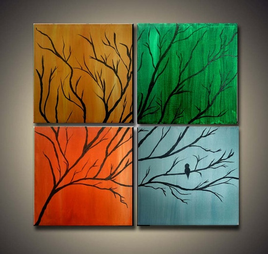 1/2 Off Original Tree and Bird Paintings on  Gallery by LoriMarie