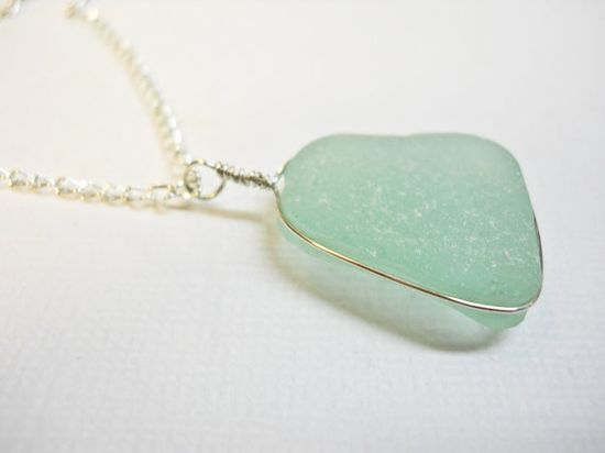 Classic Seafoam Genuine Beach Glass Sterling Silver Pendant Necklace for $7.00 at etsy.com
