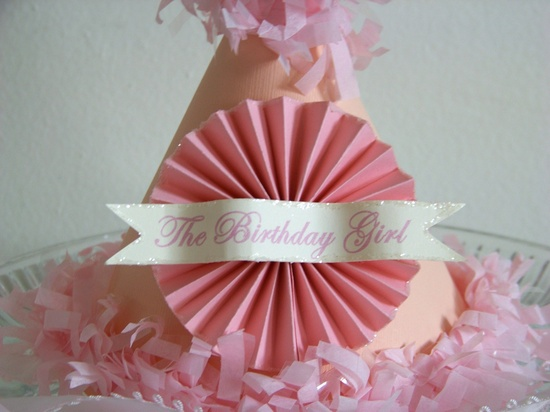 Pink paper party hat...