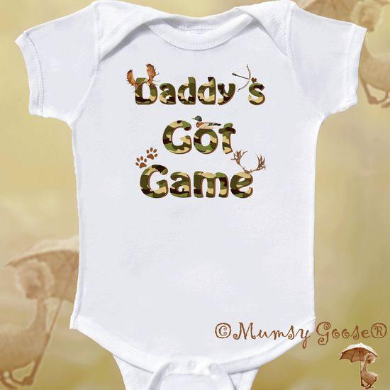 Funny Baby Boy Onesie Baby Bodysuit Hunting Onsie Newborn Rompers to Toddler Tshirts. $14.95, via Etsy.