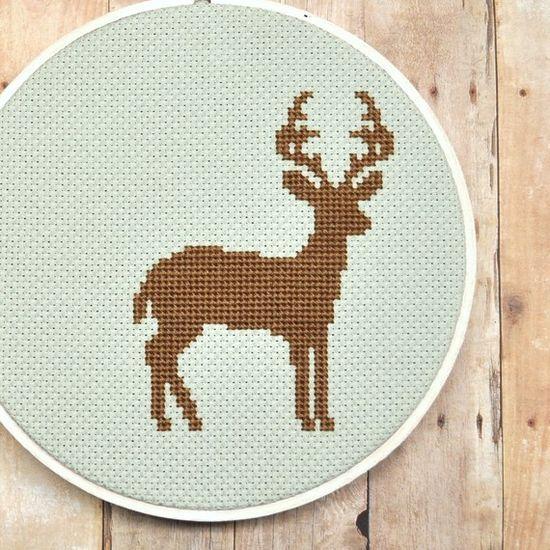 Whole stitch cross stitch deer pattern