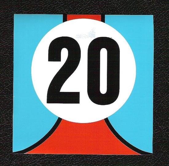 Gulf Le Mans Twenty 20 Sticker Steve McQueen Porsche Sports Car Racing Decal