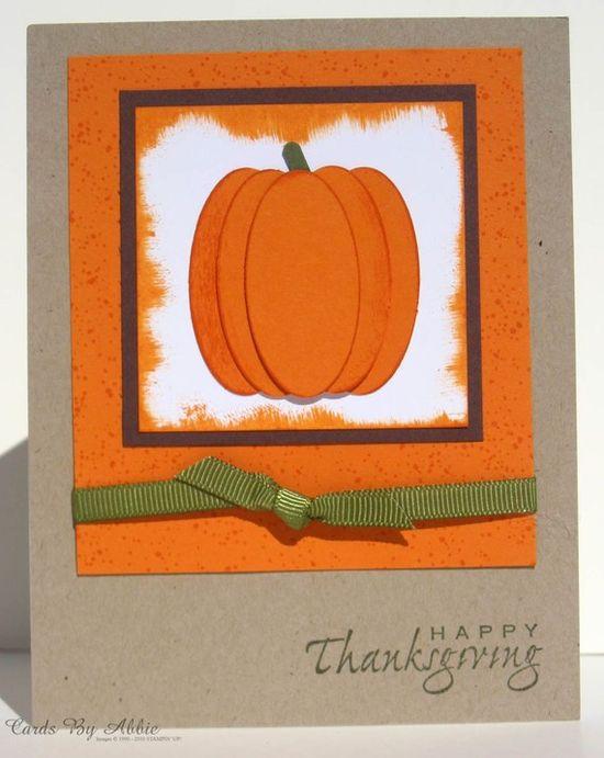 Handmade Thanksgiving Card  Pumpkin by CardsByAbbie on Etsy, $3.25