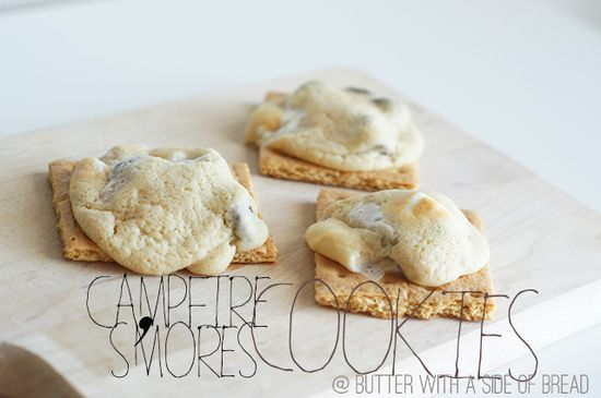 Campfire S'mores Cookies ~ yes, please!! Butter with a Side of Bread #recipe #cookies