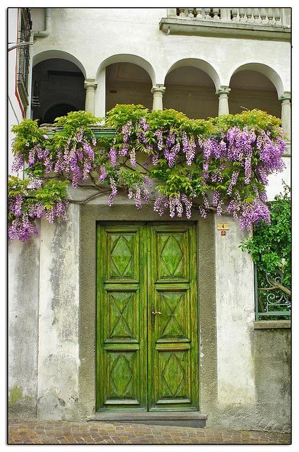 Love this chartreuse green door and the flowers pouring over it :)