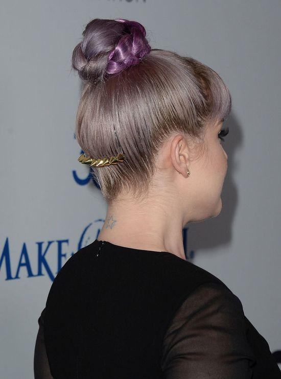 Cool spiky hair accessory (and braided bun!), Kelly Osbourne!