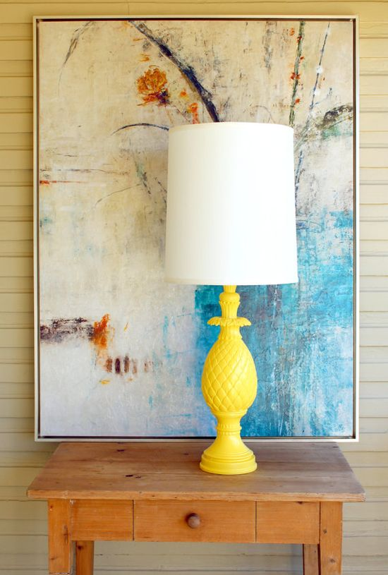 TALL Yellow Hollywood Regency Mid Century Modern by clairapy, $125.00
