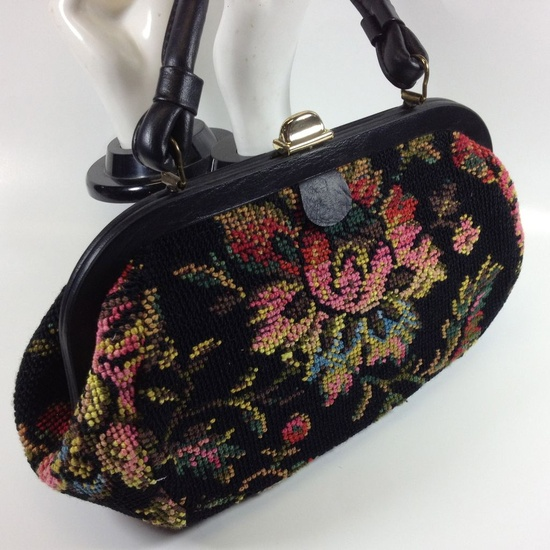 So Chic! Black Floral Needlepoint Purse found on Ruby Lane