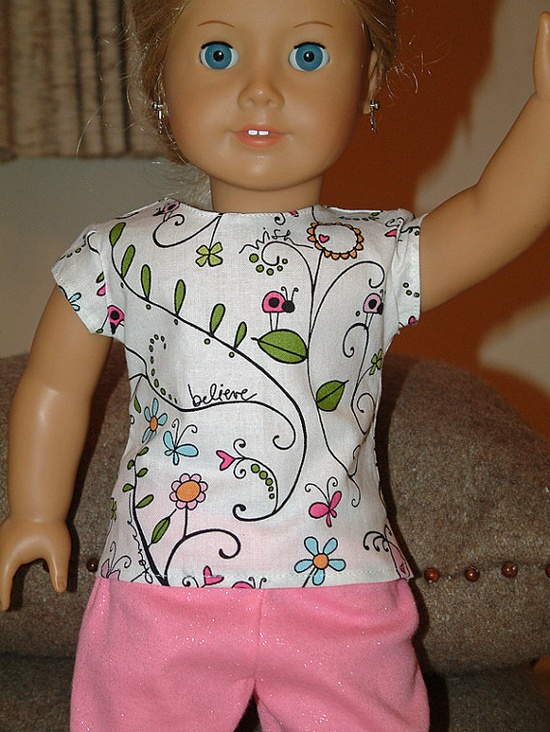 American Girl Doll Outfit  Shirt with Pink by CreativeBaskets, 14.00