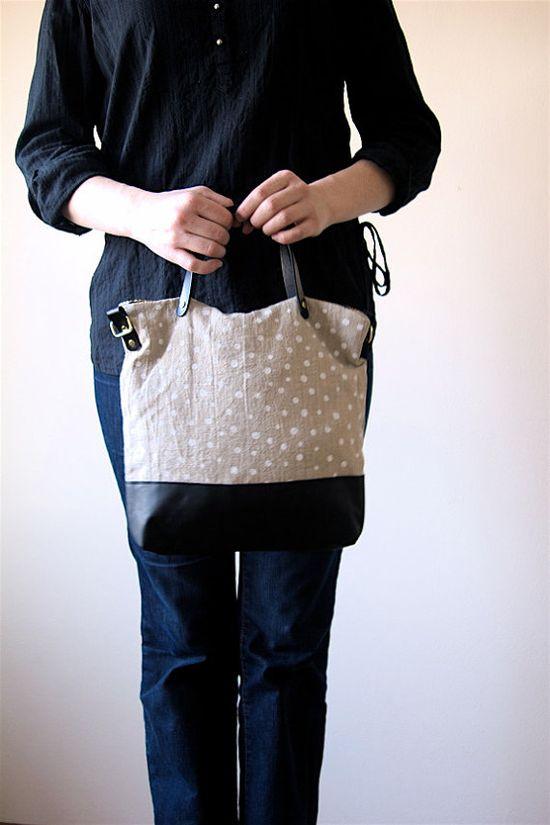 Polka Dot Over Shoulder Cross Body Bag Screen Printed Linen Black Leather Handles