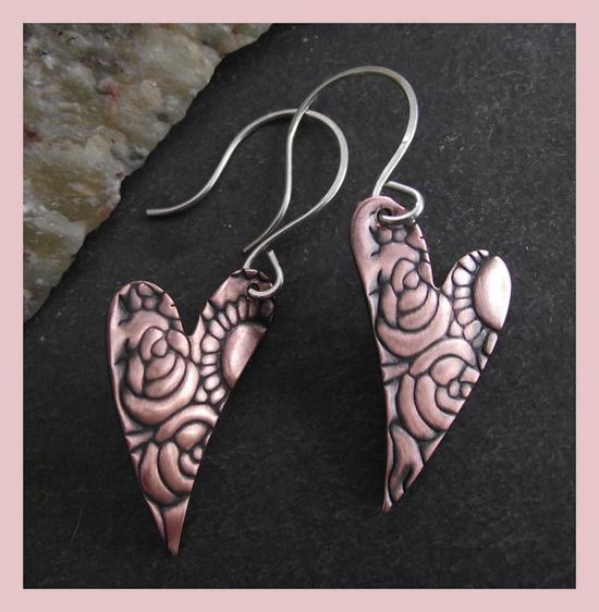 Tortured Hearts   oxidised copper embossed earrings with by abyjem, £15.00