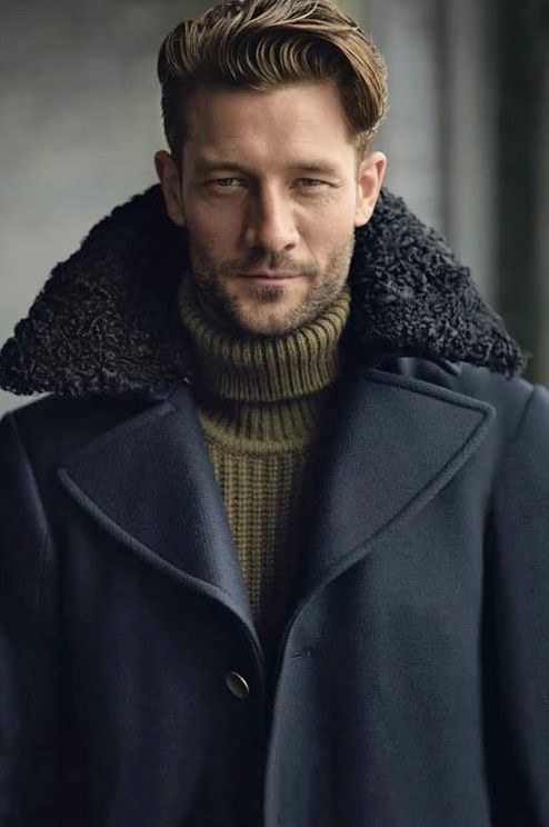 John Halls by John Balsom for Details winter fall 2013 2014 olive wool sweater strong navy coat