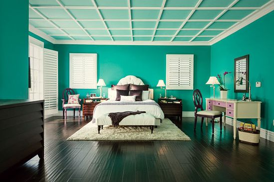 Radiant teal bedroom