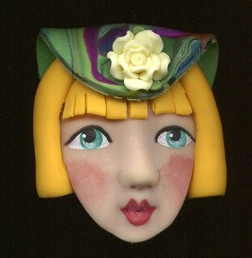 Polymer Clay One of a Kind  3 D Art Doll Face with hat by linsart, $12.25
