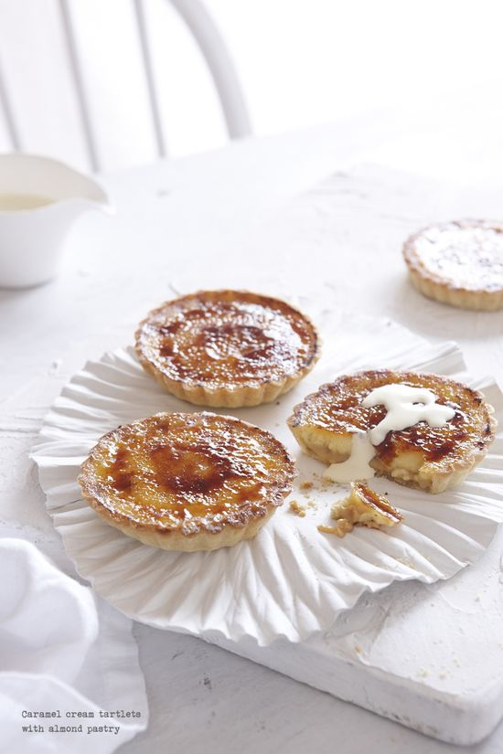 Caramel Cream Tartlets with Almond Pastry. #caramel #tartlets #pastry