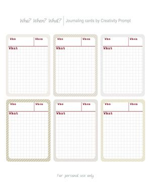 Freebie – Who? When? What? Journaling Cards