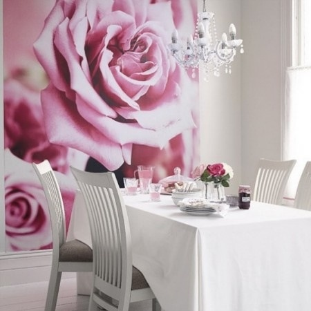 Shabby chic dining room with pink rose mural & chandelier