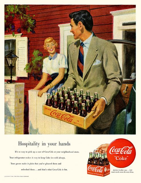 Hospitality is in your hands when you have a case of Coca-Cola. #vintage #food #ads #1940s