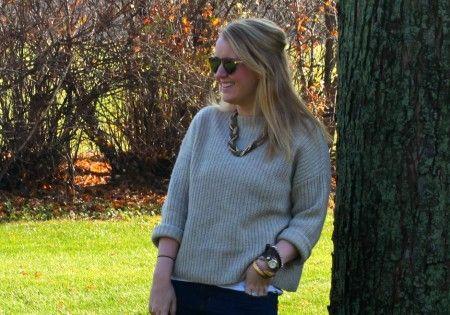 necklace + chunky knit