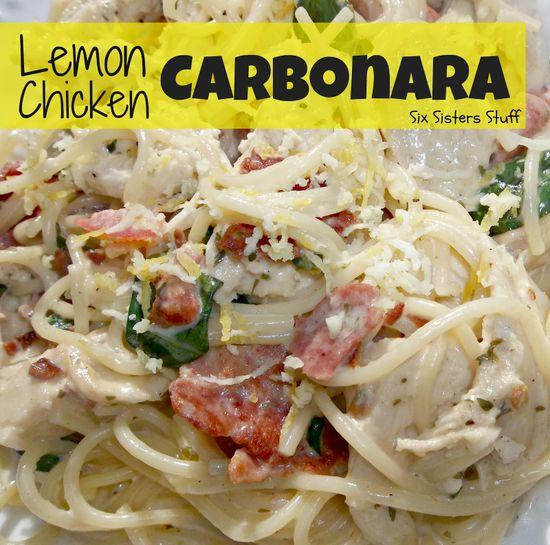 Easy Lemon Chicken Carbonara by sixsistersstuff.com. #chicken #recipe #lemon