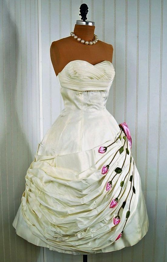 1950's Rose-Applique Draped Couture Dress