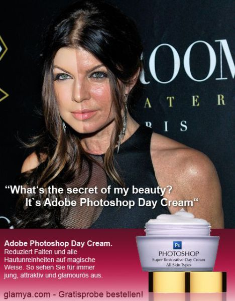 Fergie photoshopped and the picture without photoshop