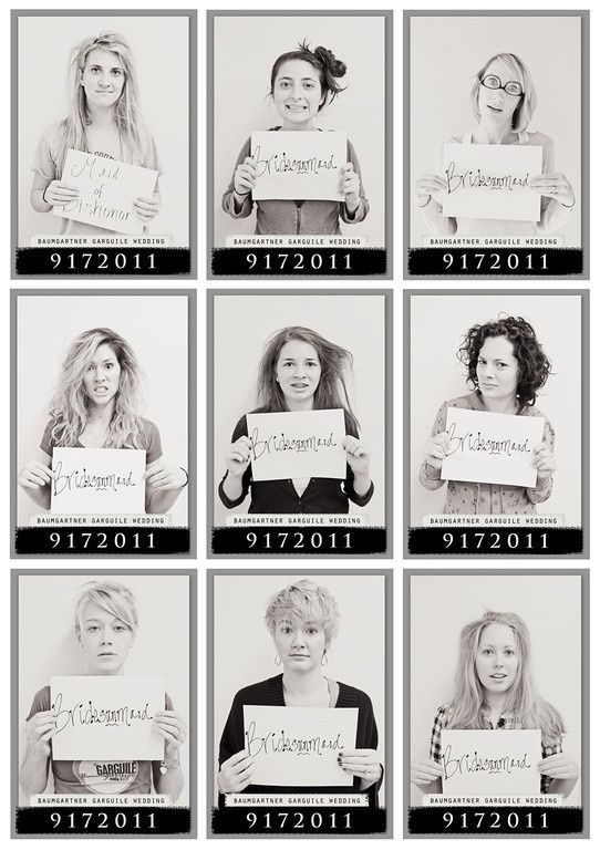 Bridesmaids mugshots - morning after the bachelorette party! Cute!