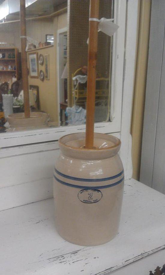 Antique Marshall, TX 2 Gallon Butter Churn: pottery, blue, white, prairie