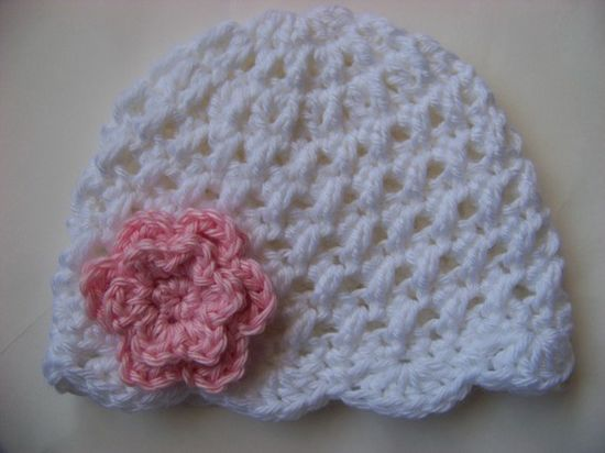Baby Girl Crochet Hat, Baby Girl Hat, Newborn Prop, Baby Girl Beanie, Baby Hats, White with Double Pink Flower