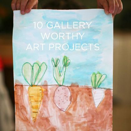 10 Gallery Worthy Art Projects for Kids; Cover the soil area with another piece of paper that can flip open to show what's underneath (can do it with veggies, princesses, etc.)