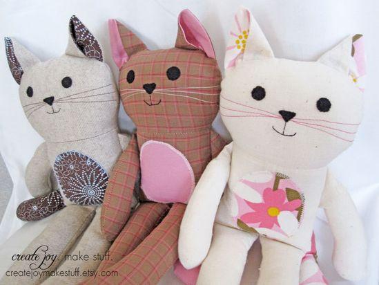 Cat Doll Sewing Pattern & Tutorial - PDF printable - kitty, girl, boy, cloth, fabric, simple, easy, softie, stuffed, sew, soft, toy. $9.00, via Etsy.