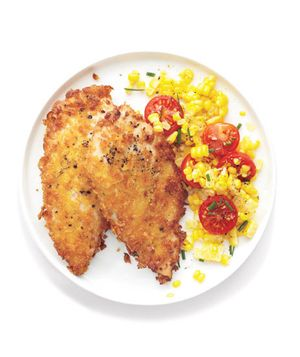 Crispy Chicken With Corn Salad recipe from realsimple.com. #MyPlate #protein #vegetables