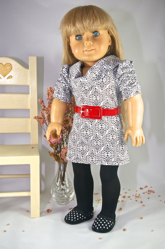 American Girl 18 inch doll dress spring black white print knit tunic with belt, tights and necklace. $20.00, via Etsy.