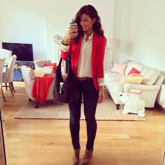 Red blazer, winter outfit