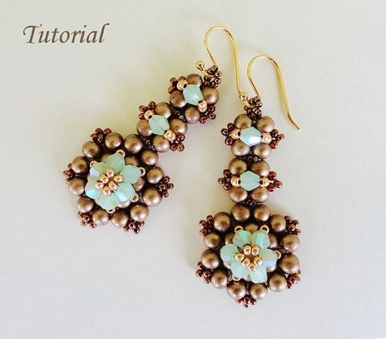PDF for beadwoven earrings beading tutorial - beadweaving beading pattern beaded seed bead jewelry - CHOCOLATE MINT