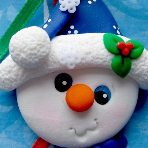 *POLYMER CLAY ~ Holiday Tree Ornament Snowman Polymer Clay.