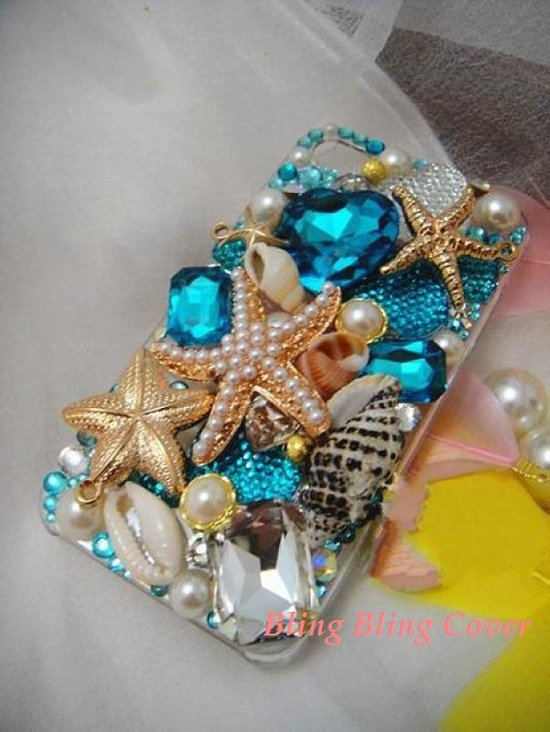 iPhone 5 Case beach summer iPhone 4 Case starfish ocean iPhone 4s Case Bling iPhone 5 Case blue swarovski iPhone 4 case Unique iPhone 5 case on Etsy, $33.99