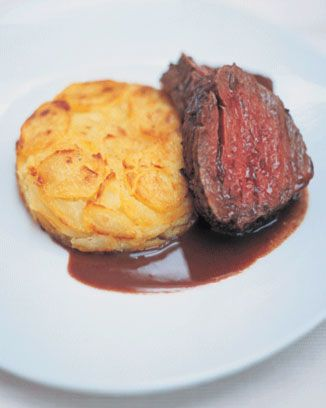 marinated and pot-roasted beef fillet with a brilliant potato and horseradish cake