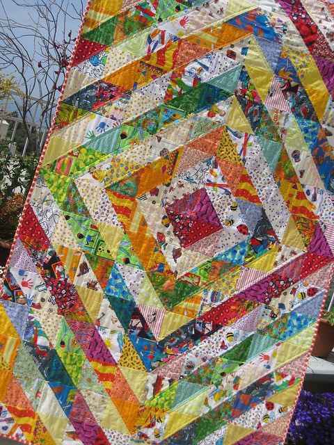 Half-square Triangles quilt