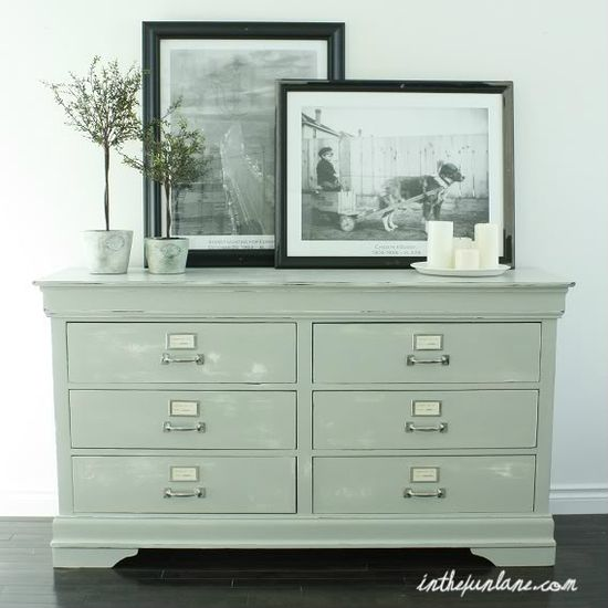 Take a basic dresser, add label fronts and pulls to create a great storage piece. This  is a another great tutorial for painting furniture that includes all of the basics and more.