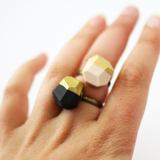 Black gold dipped geo ring by amerrymishap on Etsy