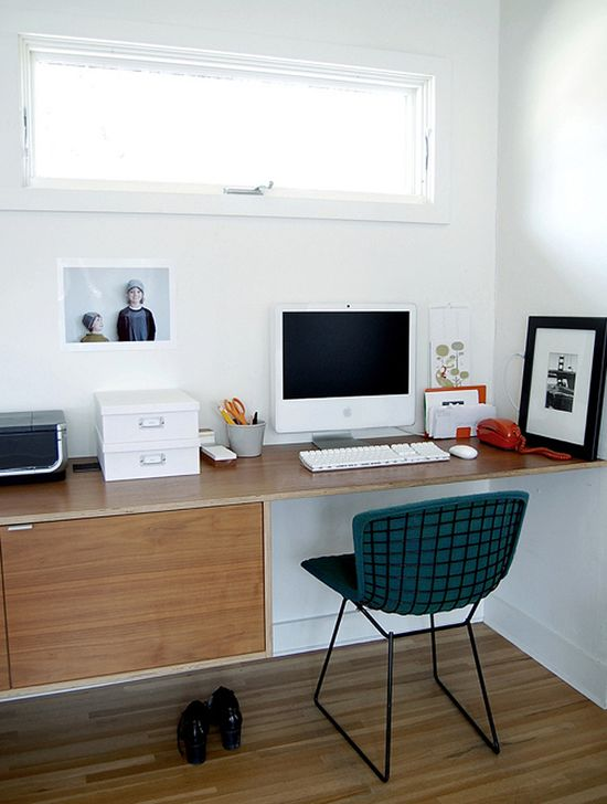 Office with Bertoia Chair, Floating Desk, and Red Slimline Phone