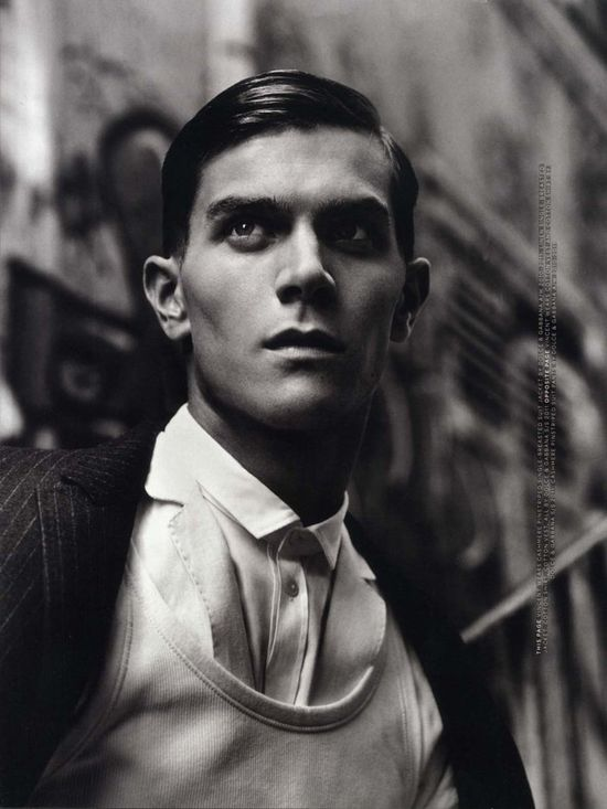 small mop buttons / white shirt  Vincent Lacrocq, Roch Barbot & Lowell Tautchin by Alasdair McLellan for Arena Homme+ -
