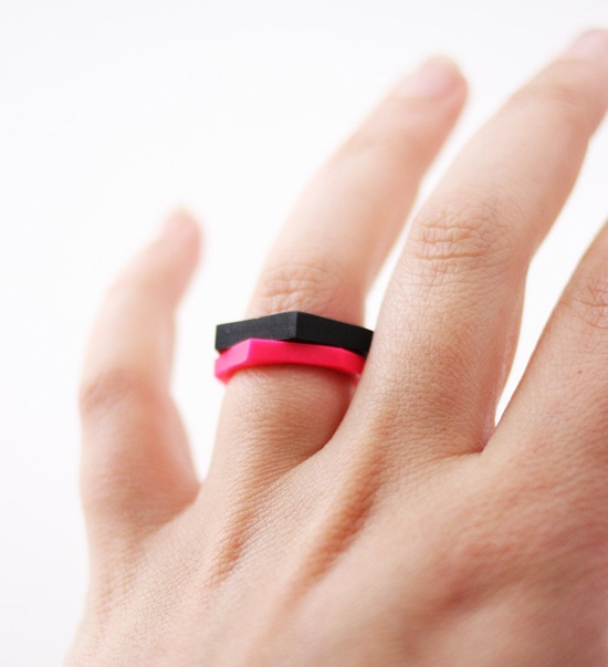 hand cut geometric stacking ring in black. $12.99, via AMM jewelry