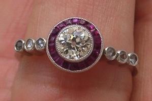 LOVE this!! art-deco diamond & ruby ring