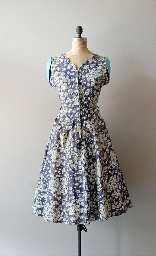 1950s dress / floral 50s dress / Winter Mums dress by DearGolden, $144.00