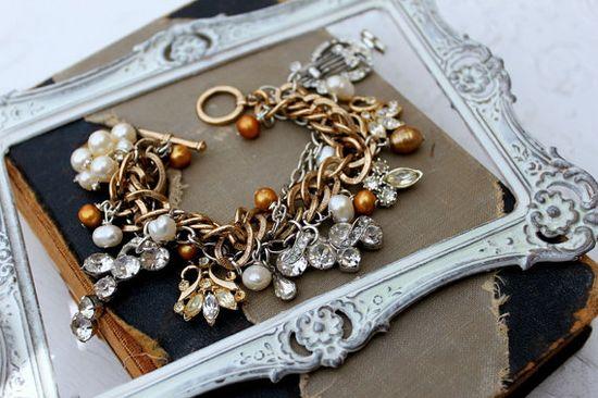 Vintage Rhinestone and Pearl Charm Bracelet~
