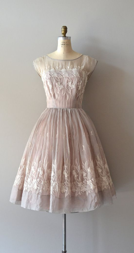 1950s delicate sheer silk dress ~ such beautiful detail