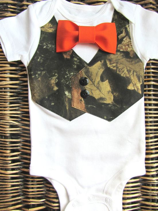 Baby Boy Clothes -Baby Camouflage - Orange Bow Tie - Camo Vest Onsie - Camouflage Tuxedo on Etsy, $22.99