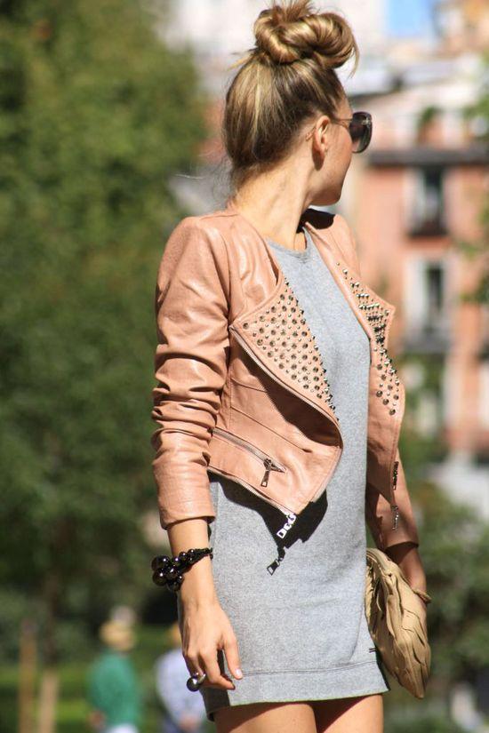 grey t shirt dress, peach studded leather jacket